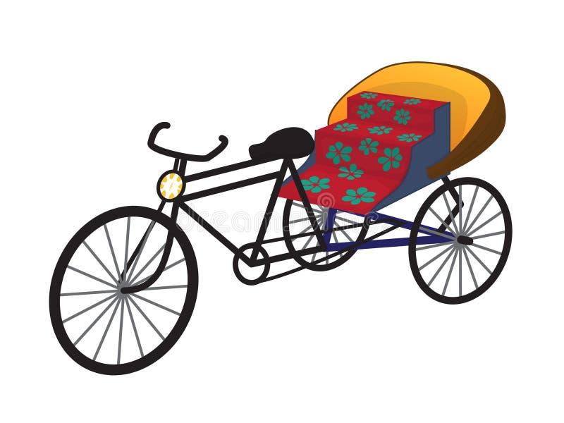 Orientalna trójkołowa riksza taksówka, wektor ilustracja wektor