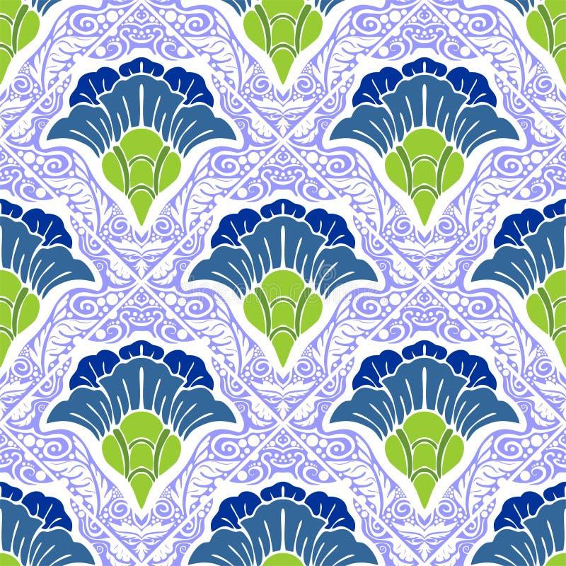 Orientalnego Chińskiego botanicznego kwiatu graficzny projekt dla motywu w porcelana stylu bezszwowym wzorze ilustracja wektor