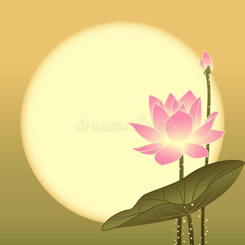 Orientalnego W połowie jesień festiwalu Lotosowy kwiat royalty ilustracja