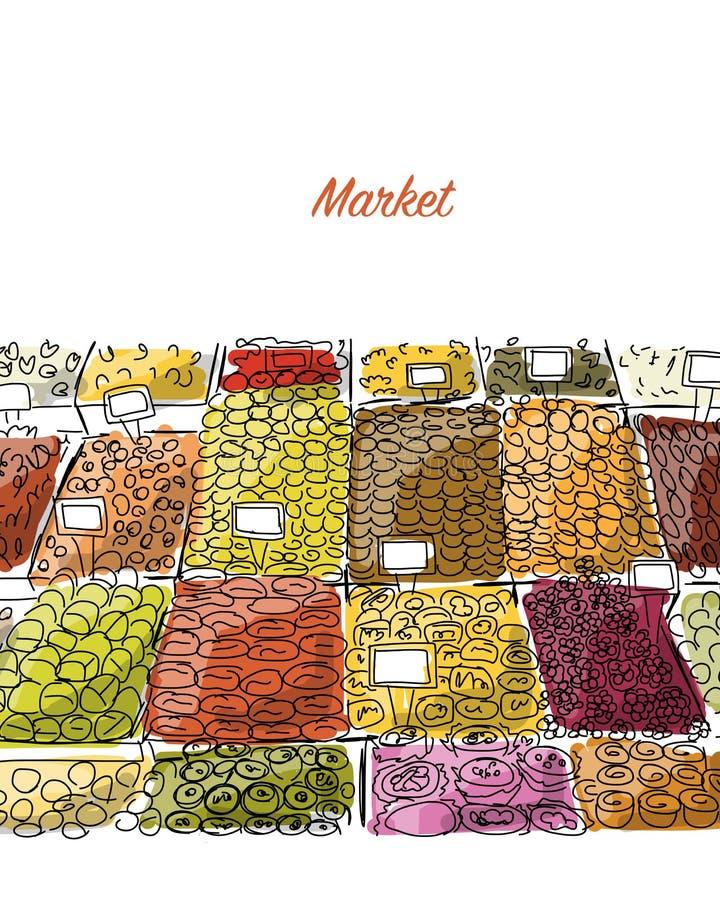 Orientalny bazar, nakreślenie dla twój projekta royalty ilustracja