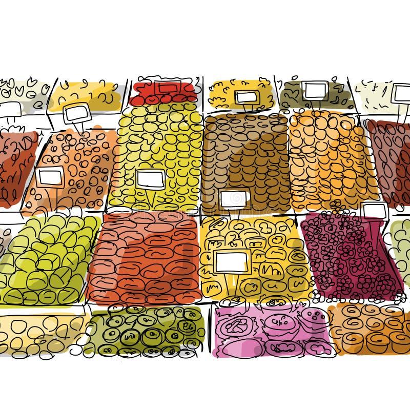 Orientalny bazar, nakreślenie dla twój projekta ilustracja wektor