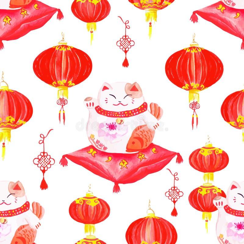 Orientalny druk z lampionami i szczęsliwymi kotami Akwarela bezszwowa ilustracja wektor