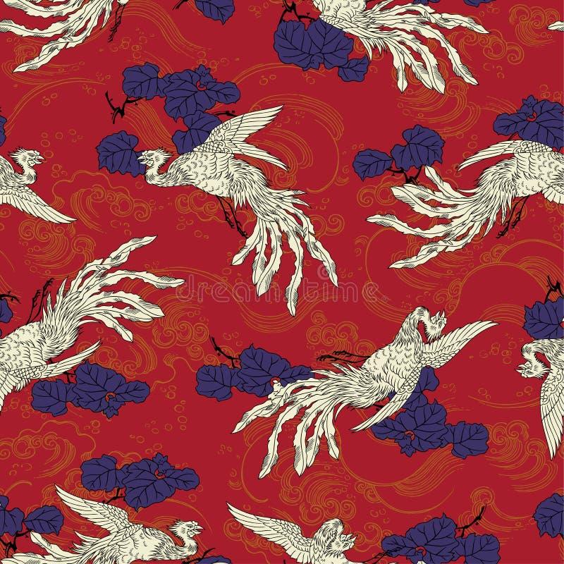 Orientalny feniksa wzór royalty ilustracja