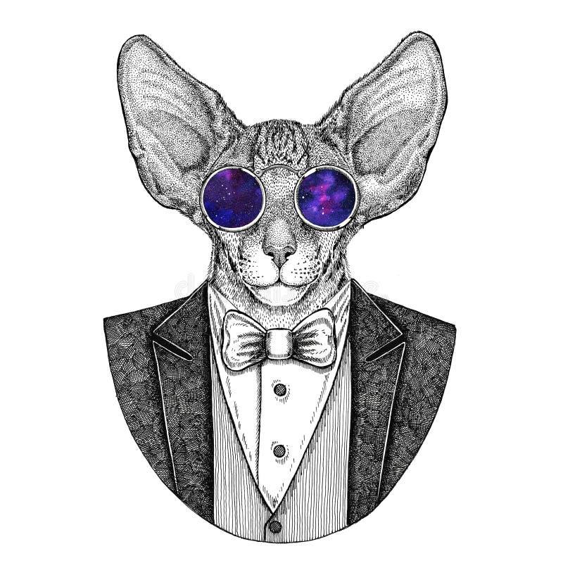 Orientalny kot z duża zwierzęca ręka rysującą ucho modnisia ilustracją dla tatuażu, emblemat, odznaka, logo, łata, koszulka royalty ilustracja