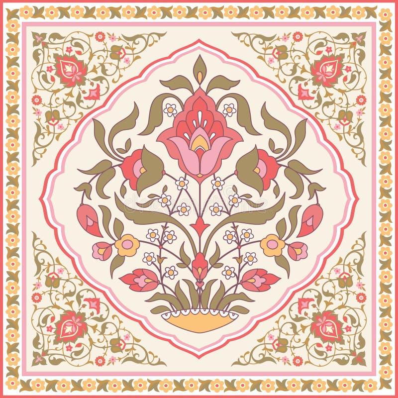 Orientalny kwiecisty projekt ilustracja wektor