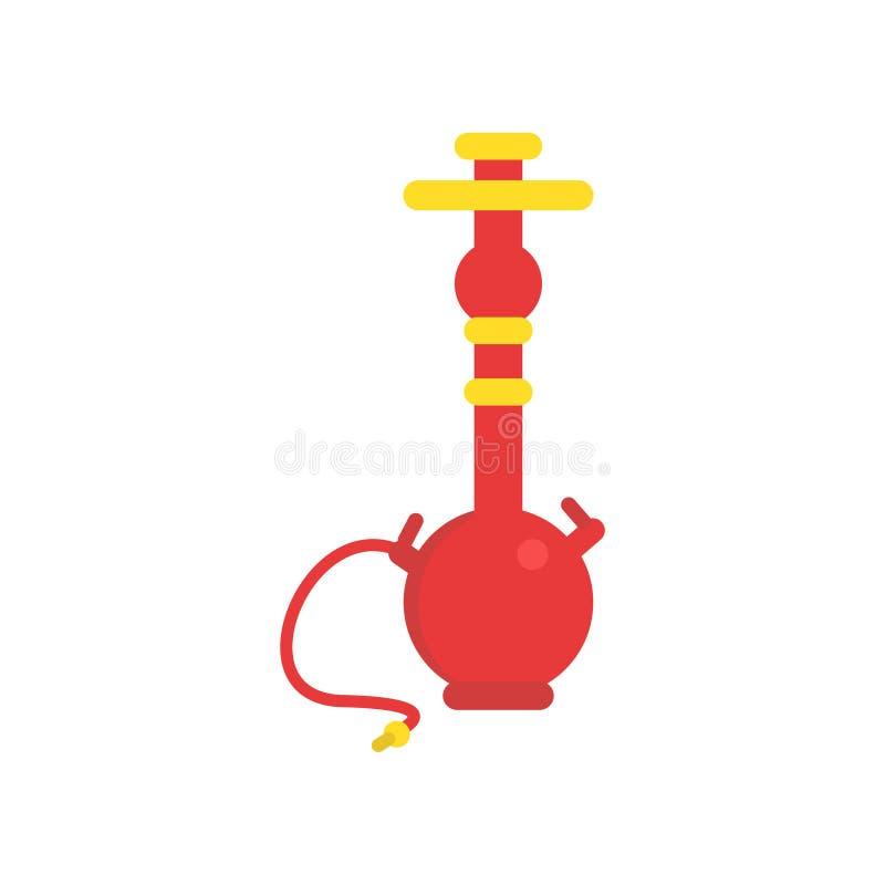 Orientalny shisha z drymbą dla dymić tytoniu Tradycyjny żywy lub nargile Symbol Arabska kultura Ikona wewnątrz royalty ilustracja