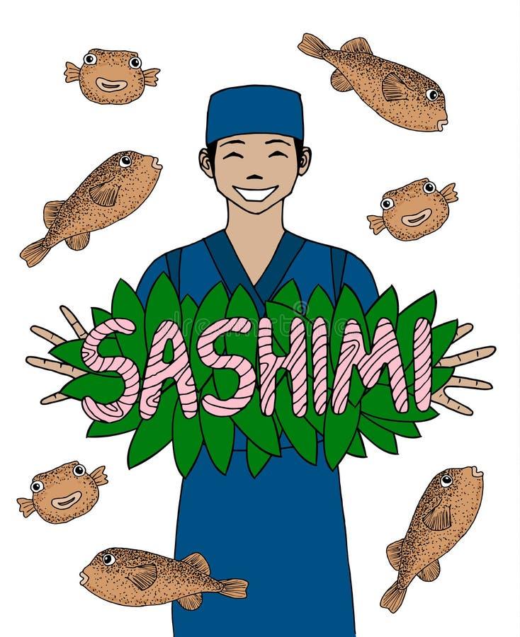 Orientalny szef kuchni z puffer sashimi i ryba wycena Japońska kuchnia Uśmiechnięty azjatykci szef kuchni w mundurze również zwró royalty ilustracja