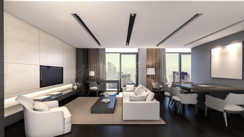 Orientalny Żywy pokój/3D rendering royalty ilustracja
