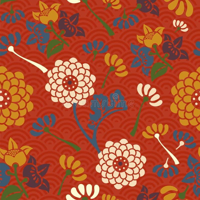 Orientalnych kwiatów bezszwowy wzór ilustracji