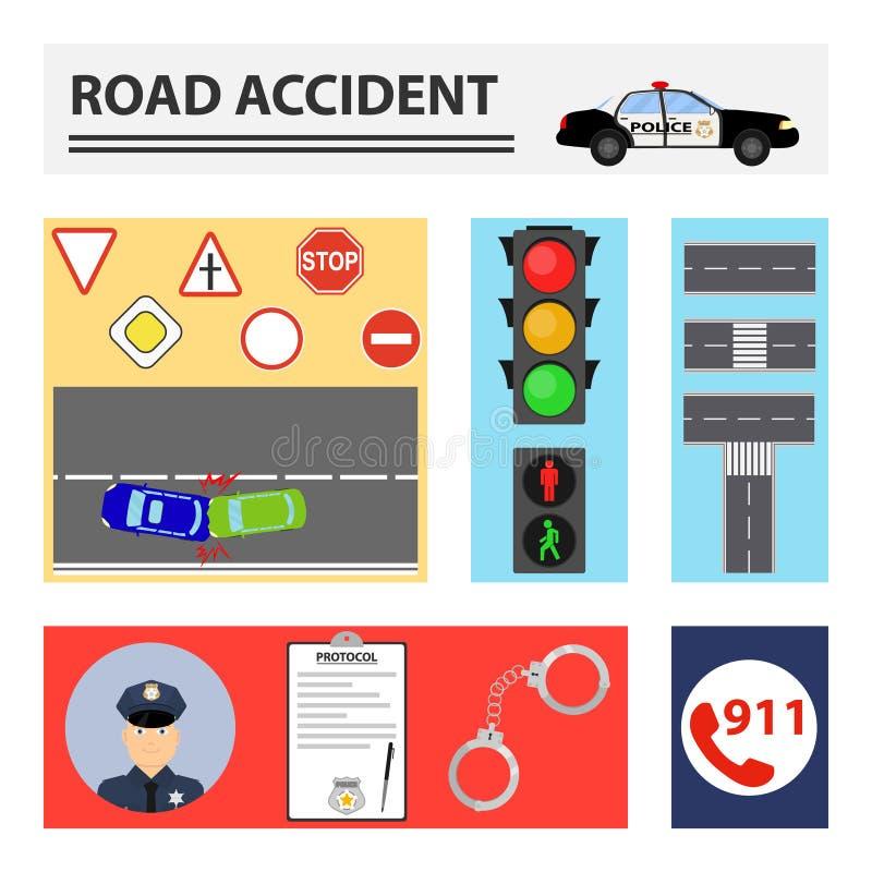 orientation cassée par accident de gestionnaire de véhicule près de l'avertissement r3fléchissant de gilet de triangle de sécurit illustration de vecteur