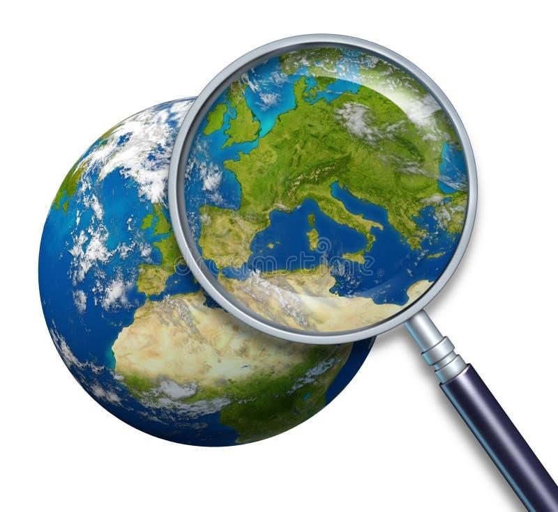 Orientation de la terre de planète sur l'Europe illustration de vecteur