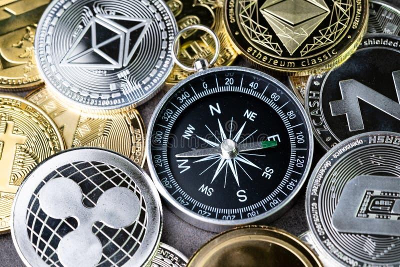 Orientation future ou prévision de crypto prix de devise, boussole W image stock