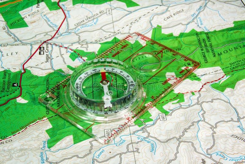 Orienteering指南针和地图 库存照片