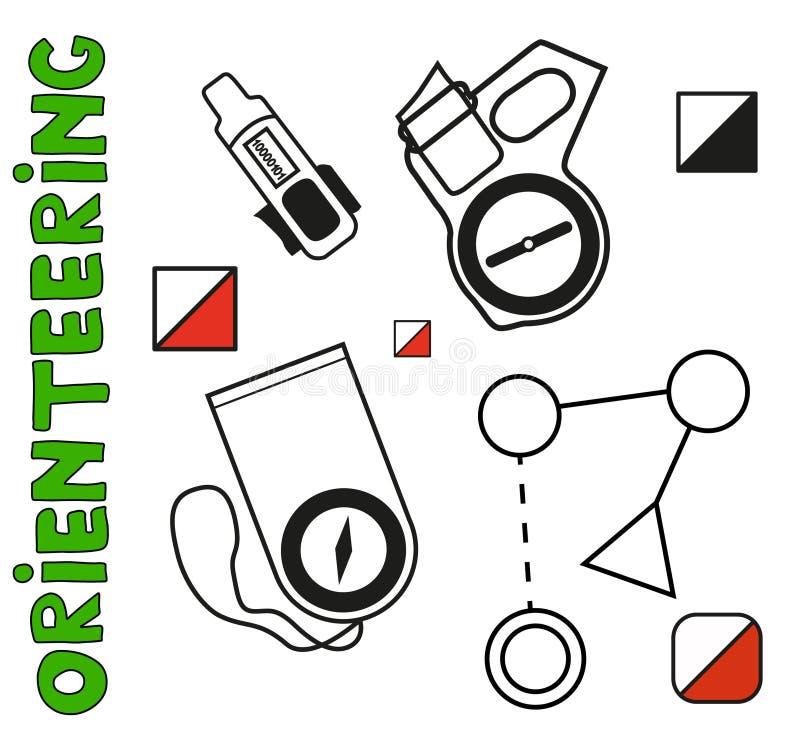 orienteering标志的套体育 平, 皇族释放例证