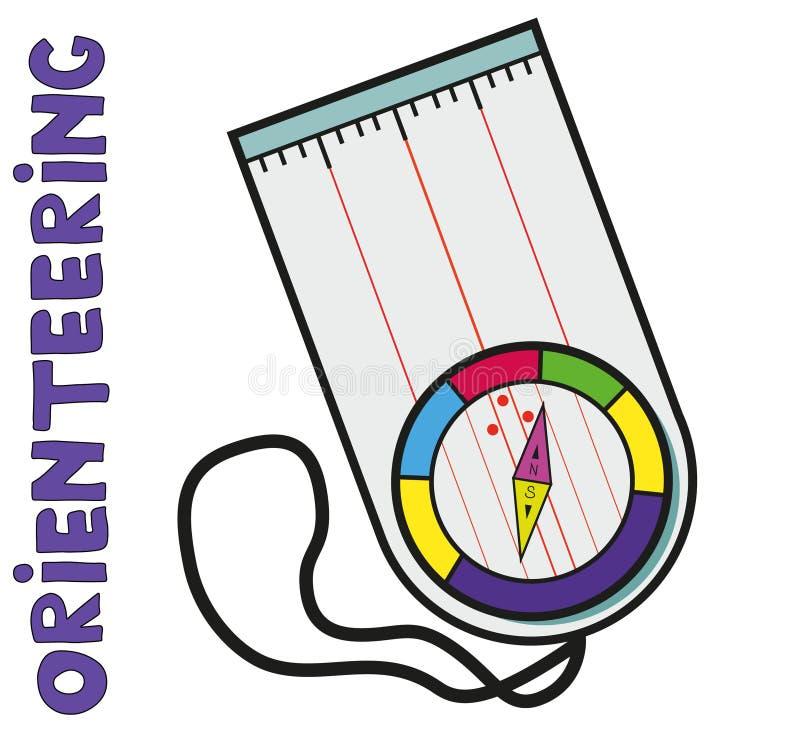 orienteering的体育指南针  平, 皇族释放例证