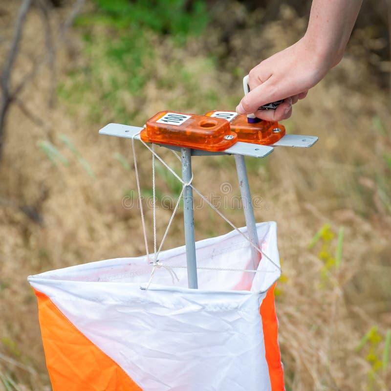 orienteering Prisma e composter do ponto de verificação para orienteering O atleta marca a passagem do ponto de controle imagem de stock