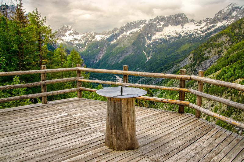 Orienteering sundial compass nature background balcony in Triglav National Park - Slovenia royalty free stock photography