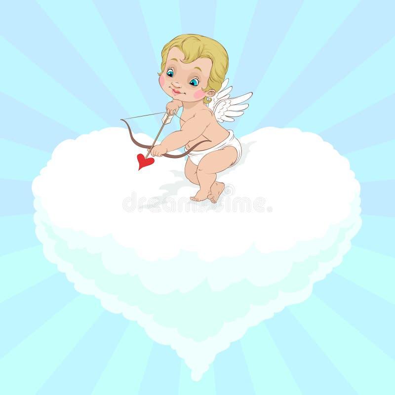 Orienter d'ange du jour de Valentine illustration de vecteur