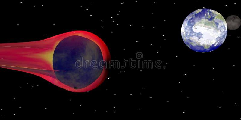 Orienter en forme d'étoile sur la terre de planète illustration stock