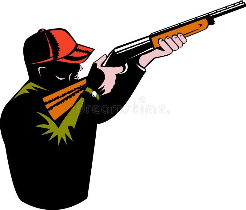 orienter le fusil de chasse de chasseur illustration stock