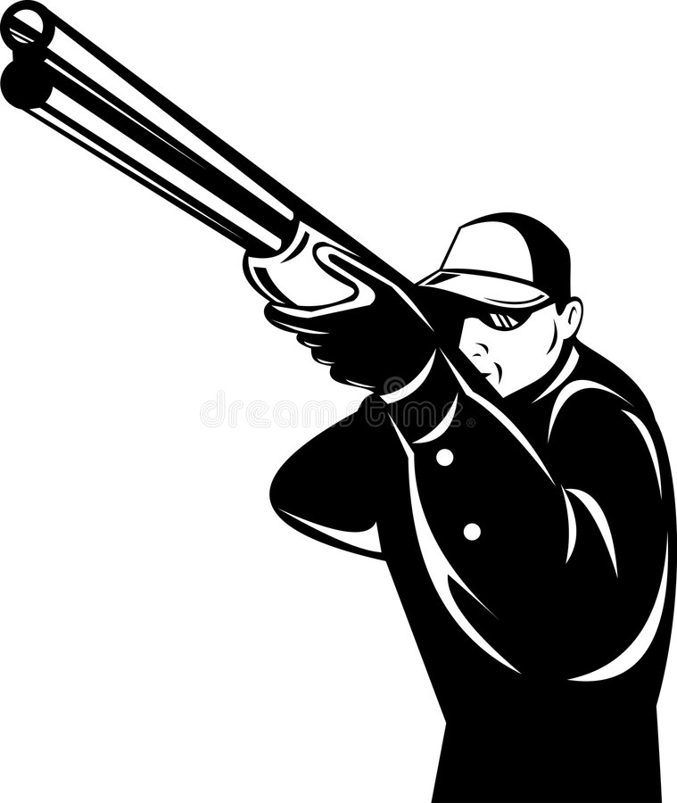orienter le fusil de chasse de chasseur illustration de vecteur