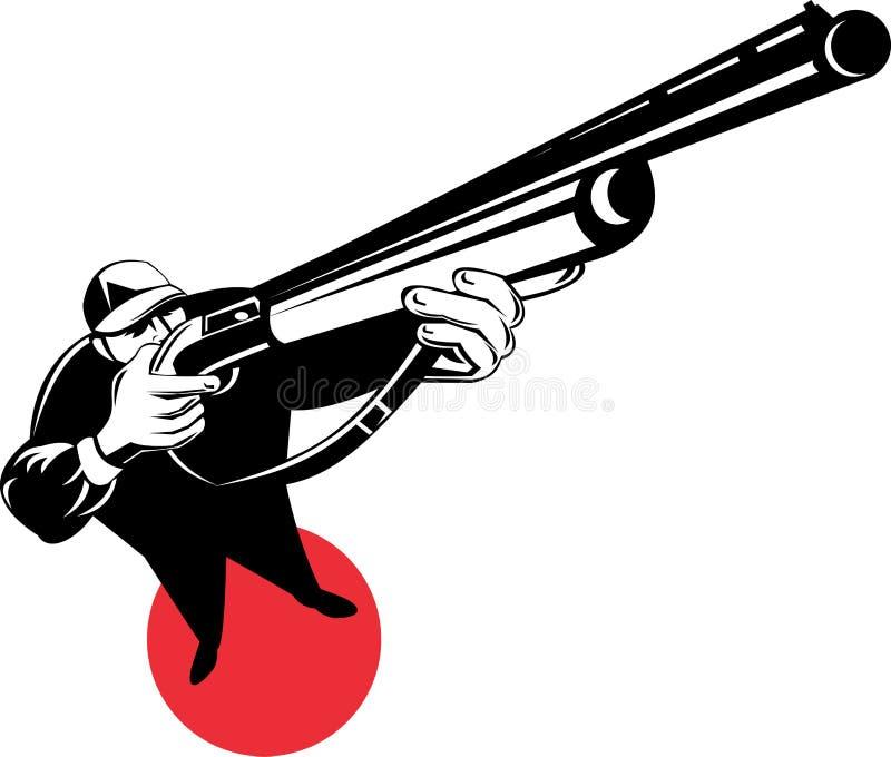 orienter le fusil de chasse de chasseur illustration libre de droits