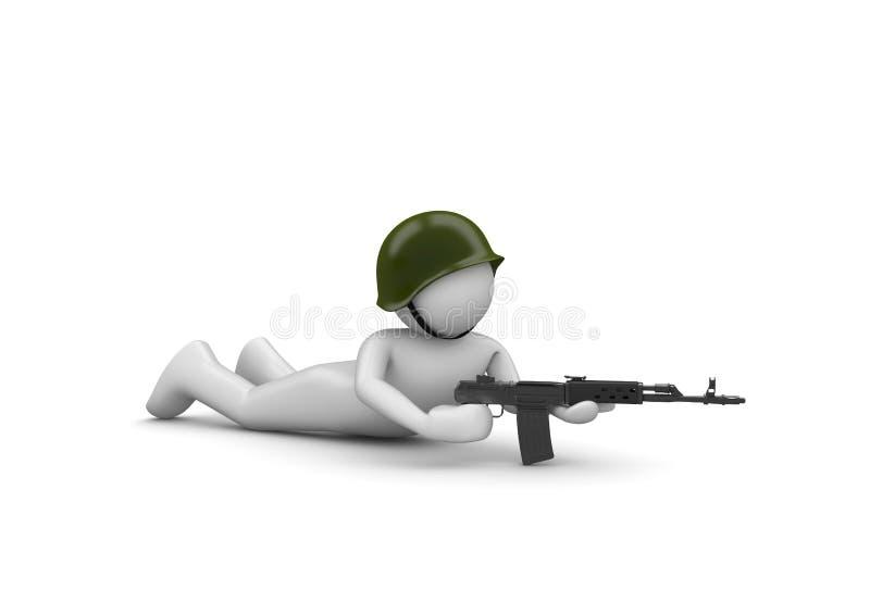 Orienter le soldat dans l'embuscade illustration stock