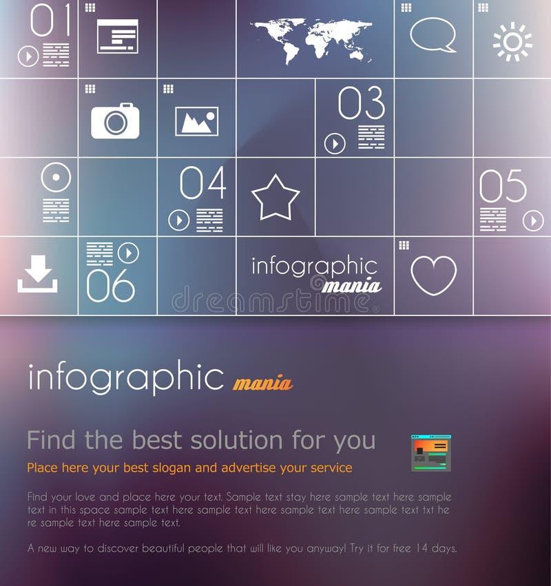 Orientering av den moderna webitepanelen för plan stil med symboler royaltyfri illustrationer