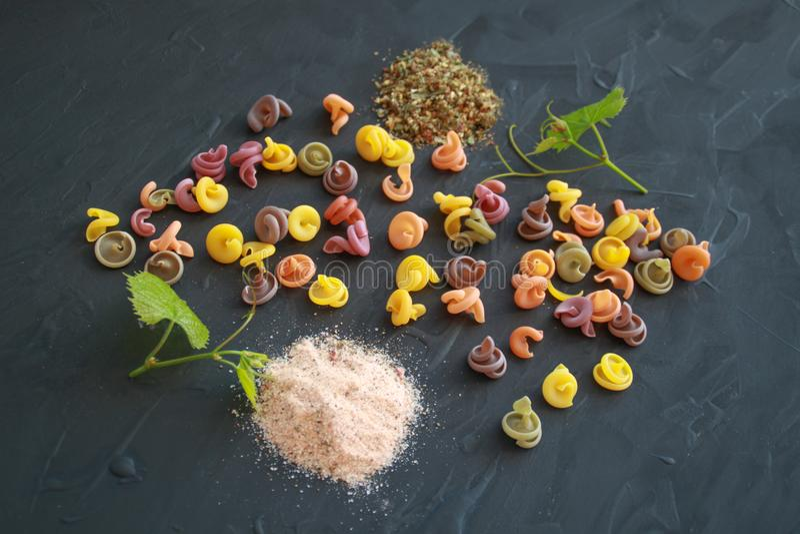 Orientering av kulör italiensk pasta med rosa Himalayan salt och pro- royaltyfri foto