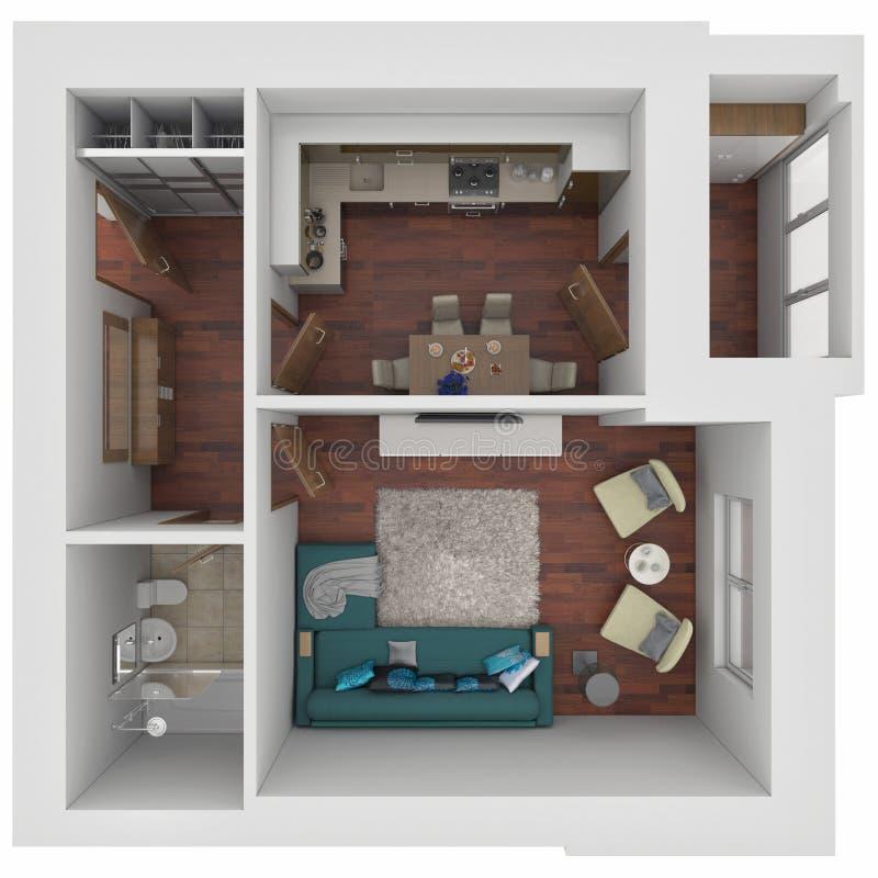 orientering 3D av lägenheten royaltyfri illustrationer