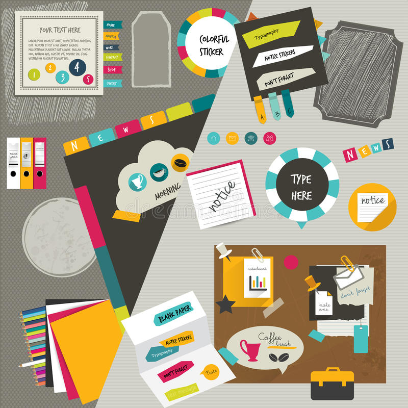 Orientering för arbetskontorsrengöringsduk. royaltyfri illustrationer