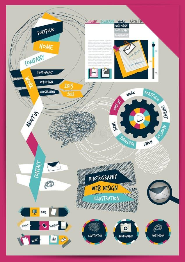 Orientering för arbetskontorsrengöringsduk. Färgrik diagramlägenhetmall. stock illustrationer