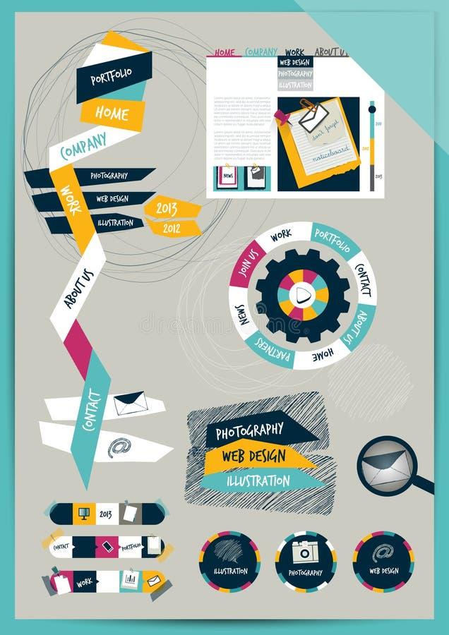 Orientering för arbetskontorsrengöringsduk. Färgrik diagramlägenhetmall. vektor illustrationer