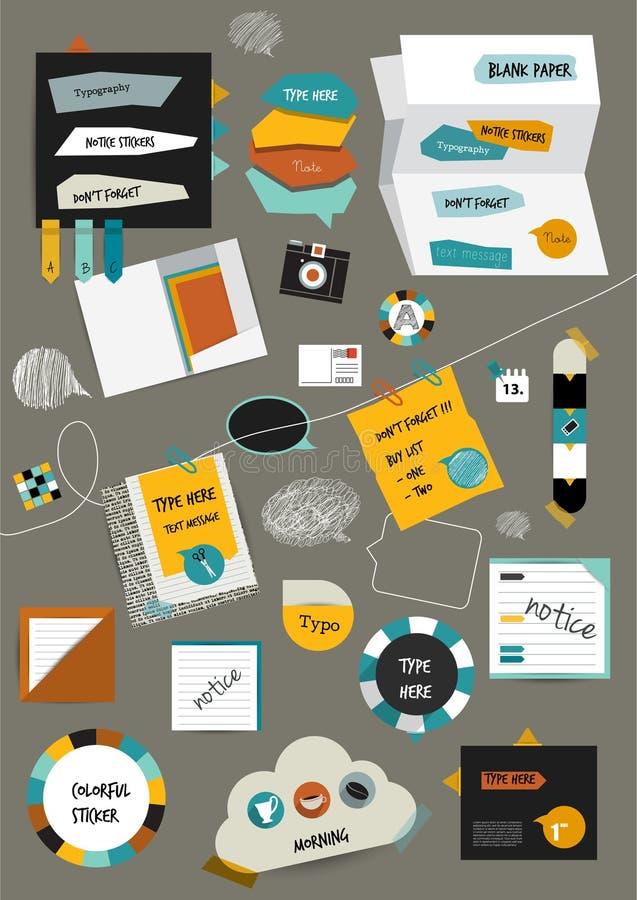 Orientering för arbetskontorsrengöringsduk Färgrik grafisk mall Mappen klistermärken, diagrammet, fliken, data, bubblor ställde i stock illustrationer