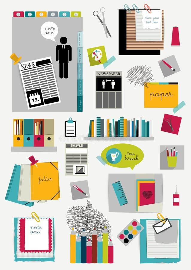 Orientering för arbetskontorsrengöringsduk Färgrik plan grafisk mall stock illustrationer