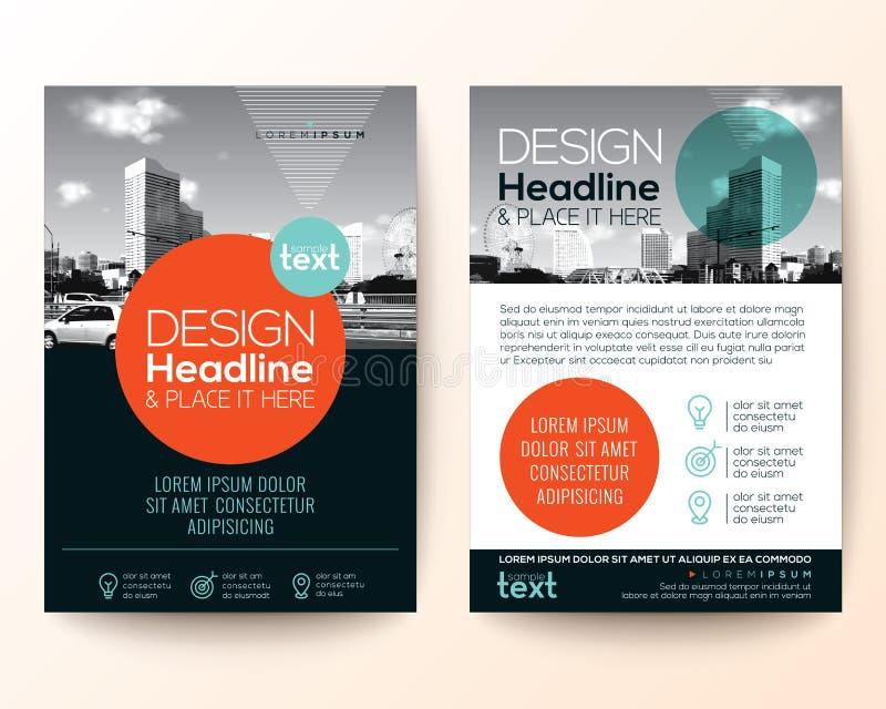 Orientering för design för räkning för broschyr för affischreklambladbroschyr royaltyfri illustrationer