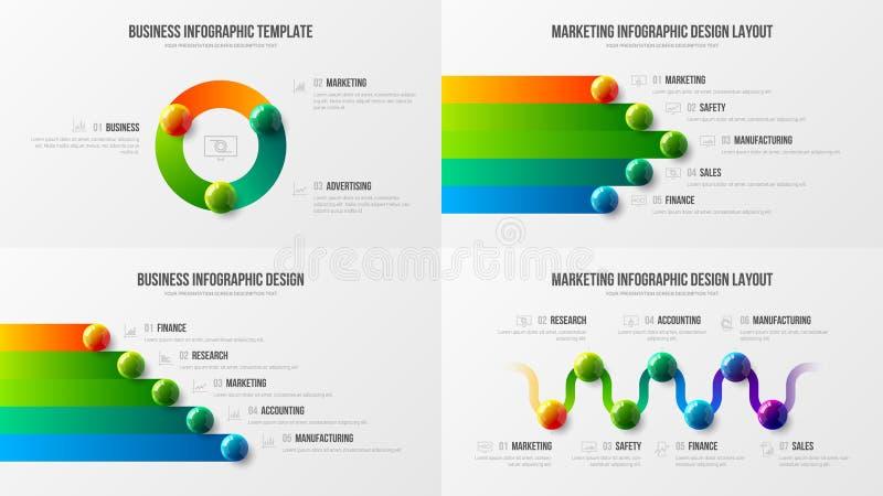Orientering för fastställd design för fantastisk affär infographic Högvärdig kvalitets- mall för illustration för vektor för mark vektor illustrationer