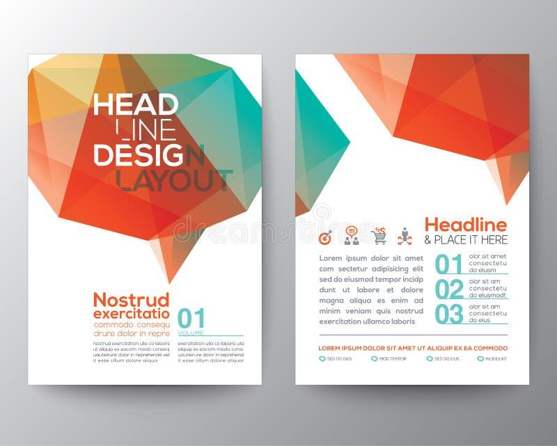 Orientering för grafisk design för polygon för abstrakt hjärnform låg stock illustrationer