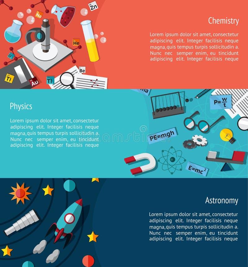 Orientering för mall för baner för vetenskapsutbildning infographic liksom phy vektor illustrationer