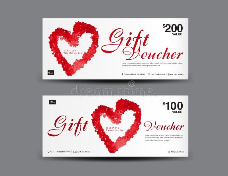 Orientering för mall för presentkort för dag för valentin` s, affärsreklambladdesign, certifikat, kupong royaltyfri illustrationer