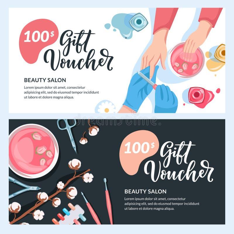 Orientering för manikyrgåvakort, kupong-, certifikat- eller för kupongvektordesign Rabattbanermall för skönhetsalong stock illustrationer