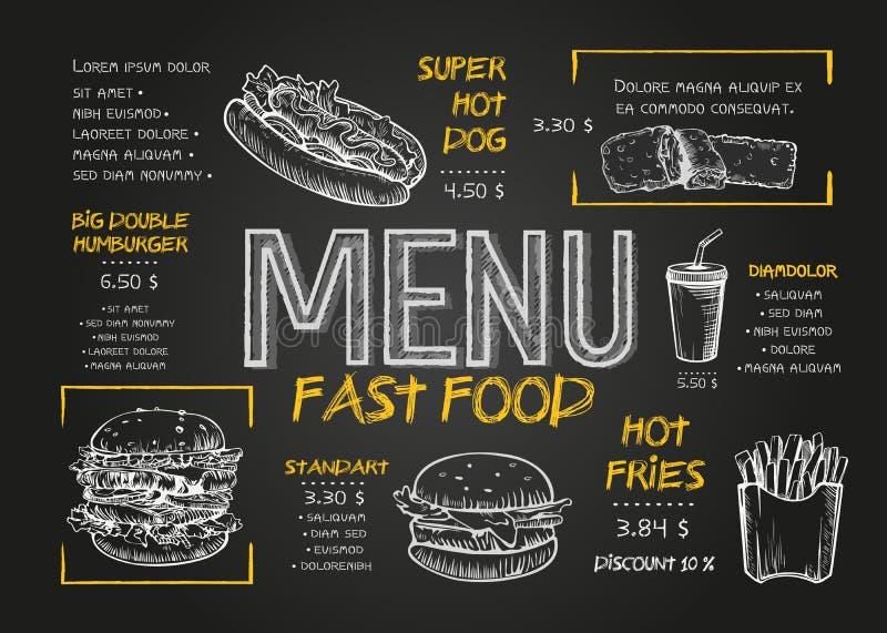 Orientering för snabbmatmenyräkning med frukosten, drinkar och andra menyobjekt på den svart tavlan Snabbmatmenydesign och snabbt stock illustrationer