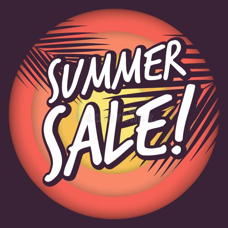 Orientering för sommarförsäljningsdesign för baner, annonsering, kort, affischkokosnötpalmblad och solbakgrund vektor illustrationer