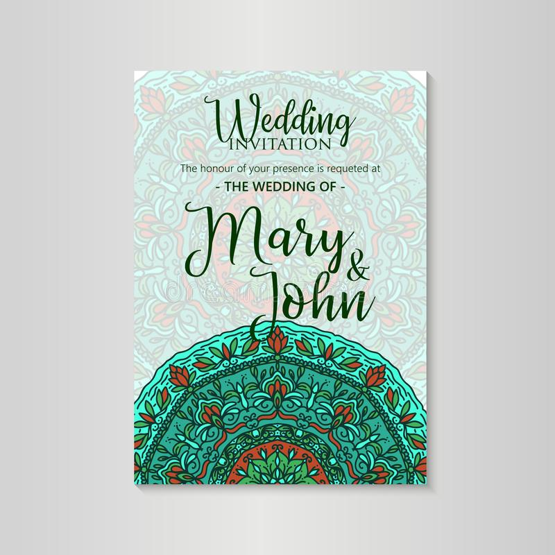Orientering för tappningmalldesign för att gifta sig inbjudan Bröllopinbjudan, tacka dig att card, sparar datumkorten vektor illustrationer