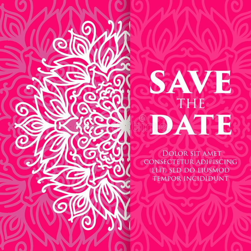 Orientering för tappningmalldesign för att gifta sig inbjudan Bröllopinbjudan, tacka dig att card, sparar datumkorten, behandla s royaltyfri illustrationer
