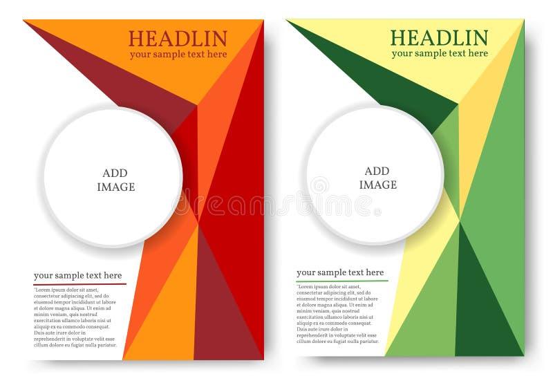 Orientering för tidskrift eller bokomslag med den polygonal modellen royaltyfri illustrationer
