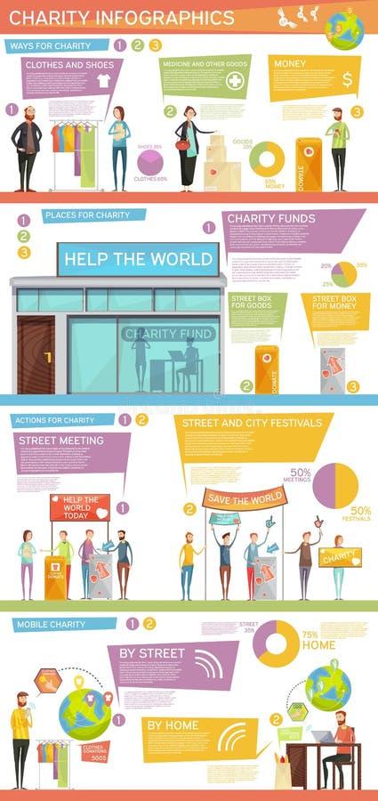 Orientering för välgörenhetInfographics lägenhet vektor illustrationer