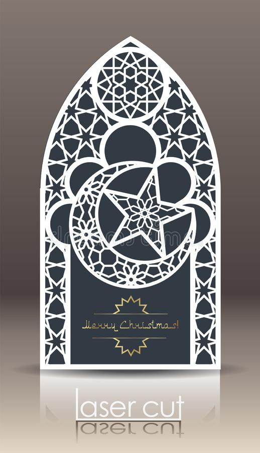 orientering för vykort 3d med den islamiska orientaliska modellen för laser-klipppapper Indiskt arv, Arabesque, persiskt motiv royaltyfri illustrationer