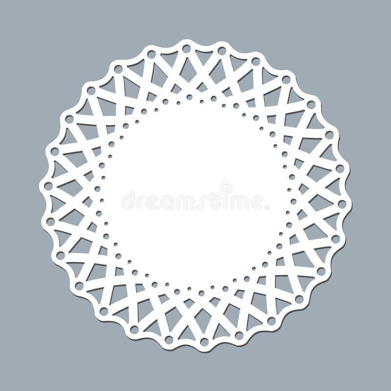 Orienteringsmallen snör åt servetten för laser-papper som klipper den runda modellprydnadmodellen av en vit, snör åt ramen för do stock illustrationer