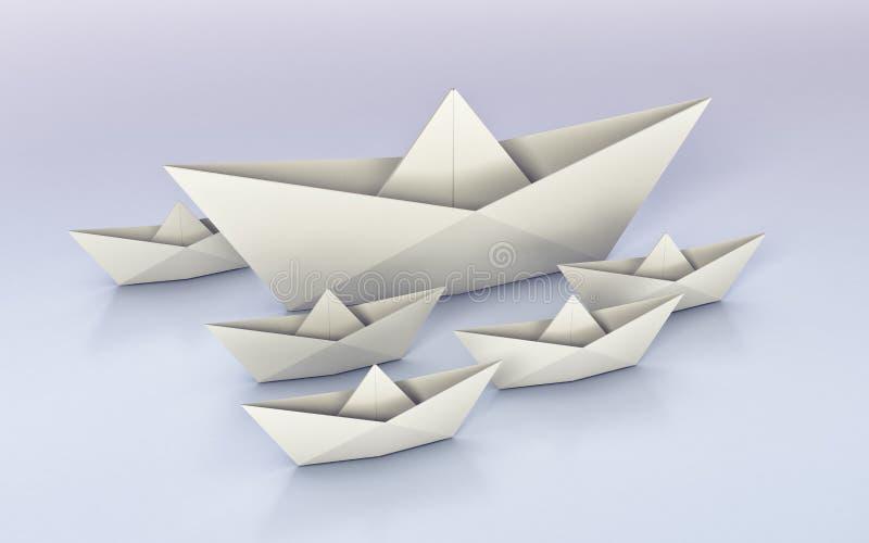 Origâmi, barcos de papel ilustração royalty free